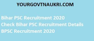 Bihar PSC professor recruitment online form 2020