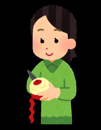 リンゴの皮むきのイラスト