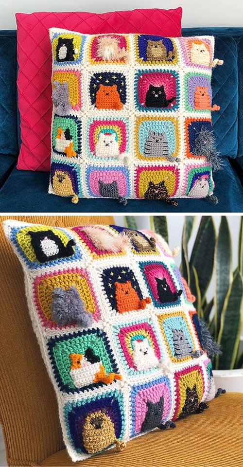 Many Cats Square - Free Pattern