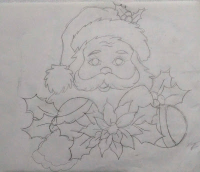 risco de papai noel com pinhas e bolas de natal para pintar em tecido