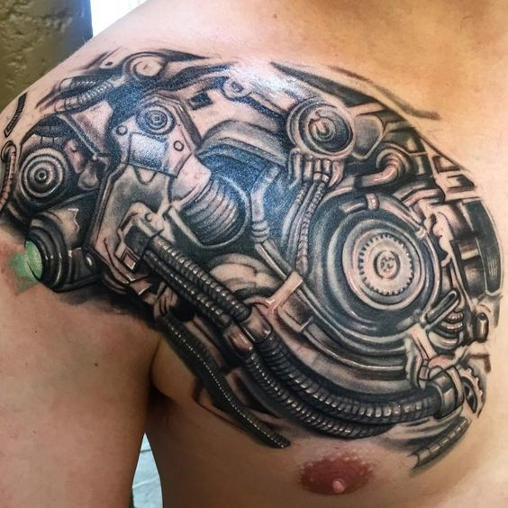 Mechanical Chest Tattoo