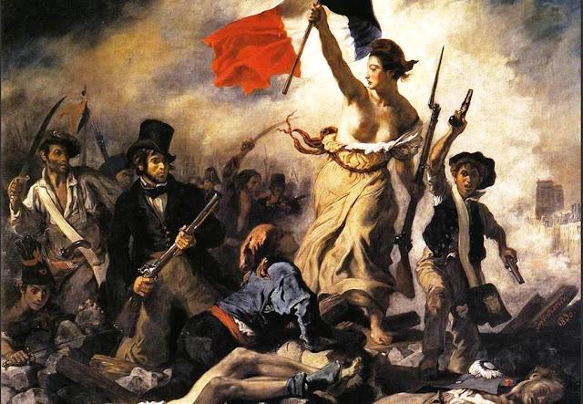Imagen del cuadro La Libertad guiando al pueblo, Eugéne Delacroix (1830)