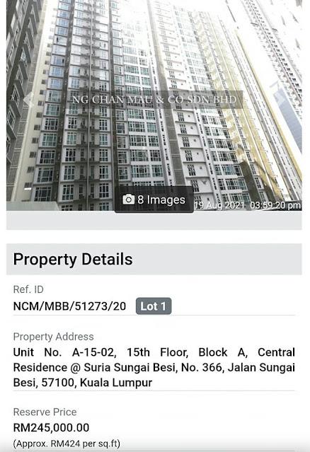 Apartment di Central Residence, Sungai Besi, Kuala Lumpur harga RM245 ribu