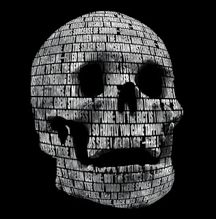 Skull decorated with Poe's Raven poem