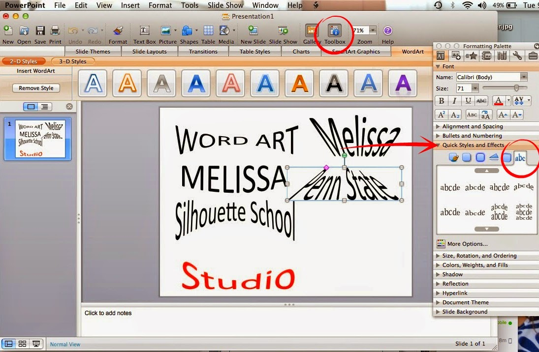 Word art, Silhouette Studio, Silhouette tutorial, powerpoint, toolbox