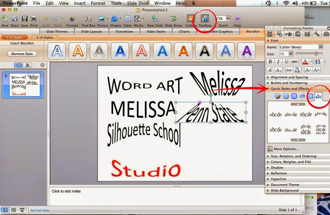 Word art, Silhouette Studio, Silhouette tutorial, powerpoint, toolbox