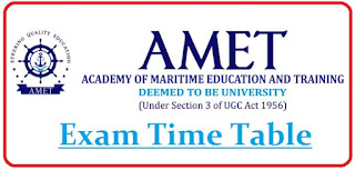 AMET University Exam Date Sheet 2020