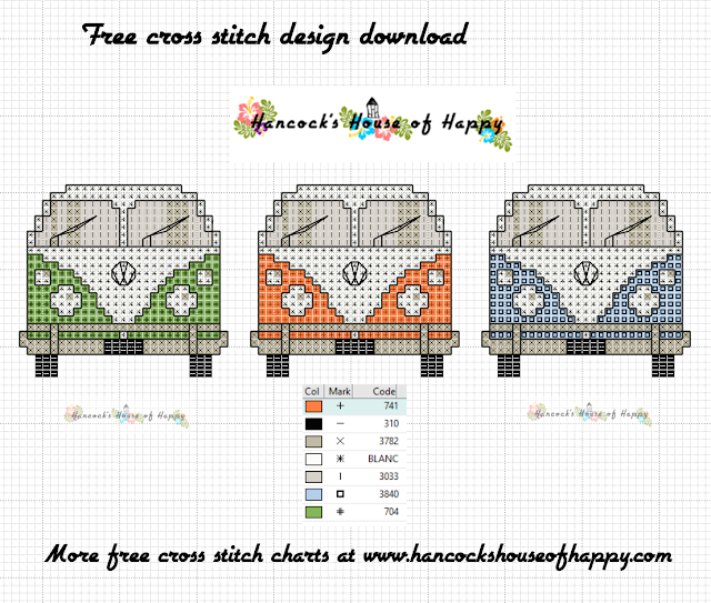 Groovy! This VW Van Cross Stitch Chart Invites You to Come Knockin' Free Volkswagon Van Cross Stitch Design to Download