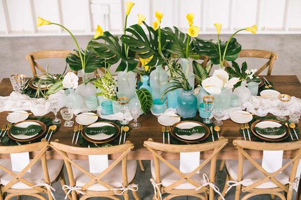 centro mesa boda tropical