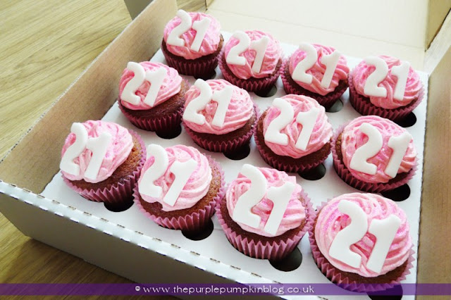 National Cupcake Week - 21st Birthday Pink Glittery Cupcakes at The Purple Pumpkin Blog