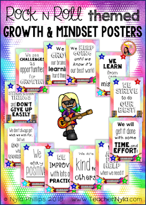 Rock and Roll themed Growth Mindset Posters