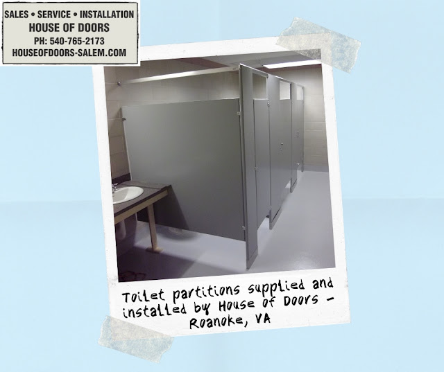 Toilet partitions supplied and installed by House of Doors - Roanoke, VA