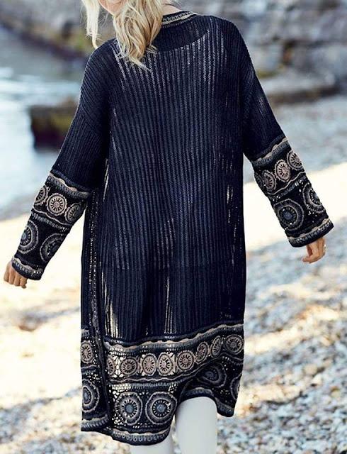 płaszcz szydełkiem ze wzorem