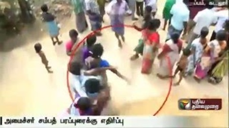 Slipper thrown at Minister MC Sampath during election campaign at Cuddalore