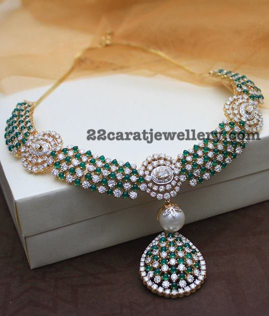 Diamond Emeralds Classic Necklaces By Designer Naj Jewellers