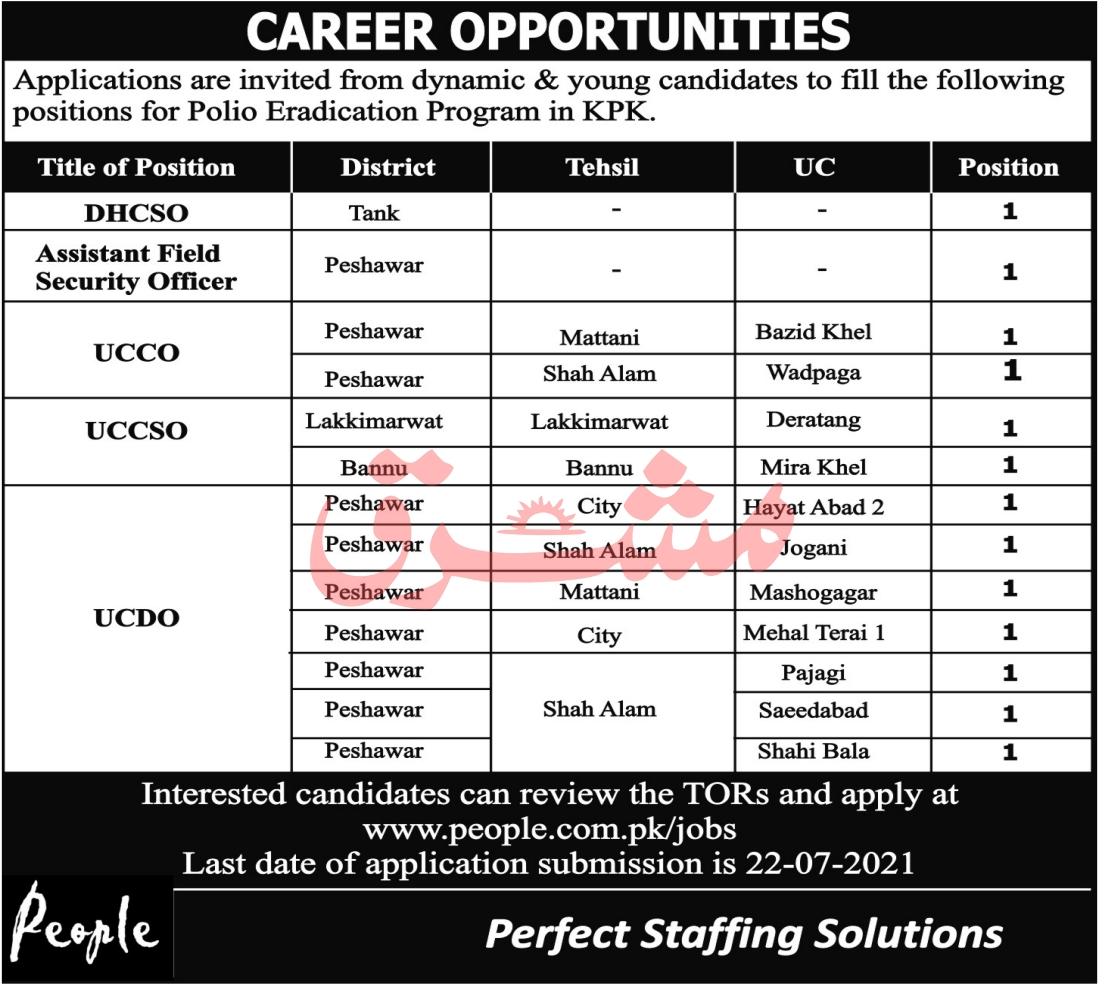 www.people.com.pk/jobs - Polio Eradication Program KPK Jobs 2021 in Pakistan