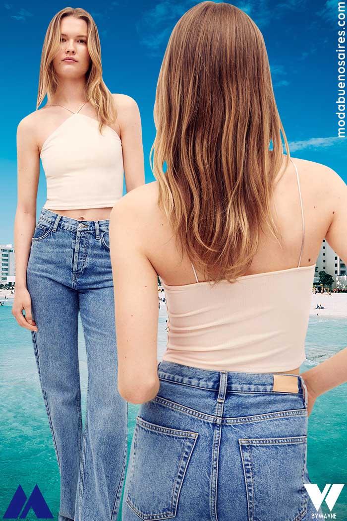 tops y jeans tiro alto verano 2022