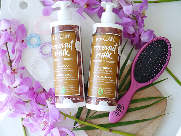 Summer hair favourites featuring La Coupe Coconut Milk Moisture Quenching Shampoo and Conditioner, Wet Brush and KB Collection small traceless hair ties in cotton candy colours