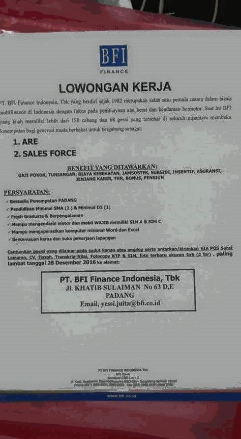Lowongan Kerja di Padang – PT.BFI Finance Indonesia, Tbk – 2 Posisi