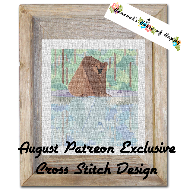 Giant bear in the woods cross stitch design on patreon