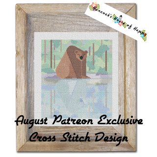 Happy Bear in the Woods Full Coverage Cross Stitch Pattern