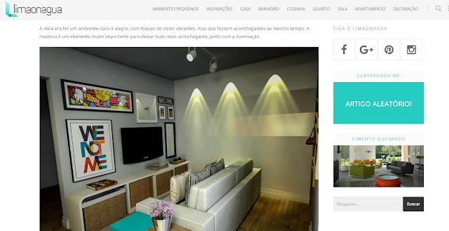 Imagem mostra sala de estar decorada no blog Limão na Água
