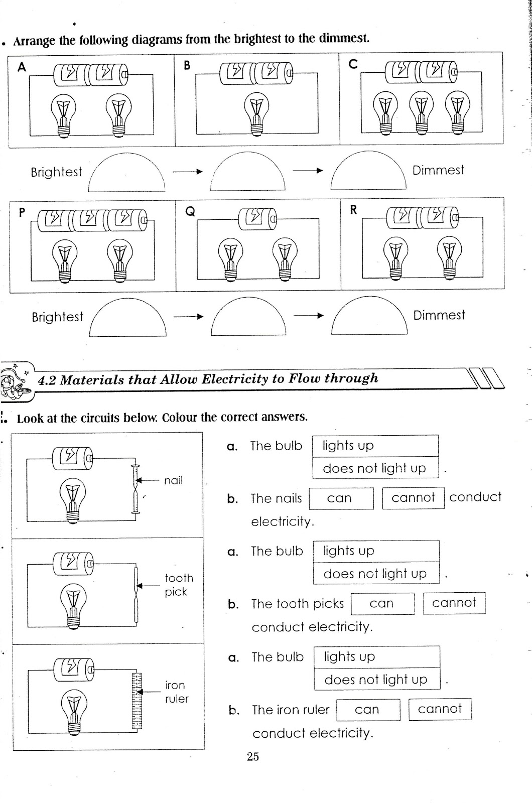 Worksheet Science Year 3 Electricity