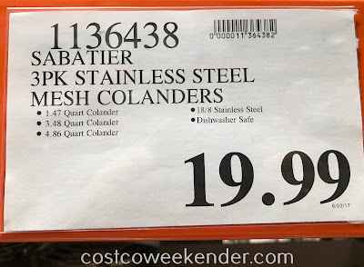 Deal for the Sabatier 3-piece Stainless Steel Mesh Colander Set at Costco