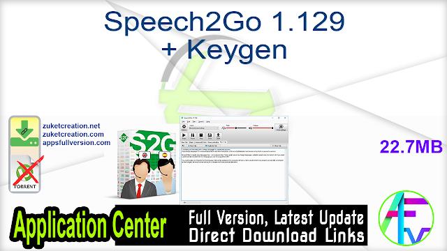 Speech2Go 1.129 + Keygen