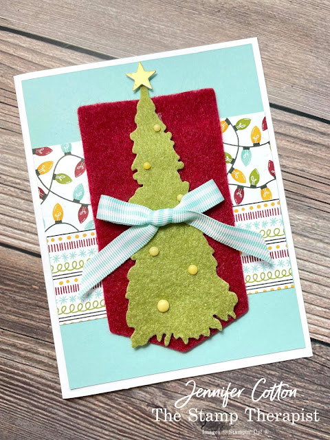 Stampin' Up! Sweet Little Stockings card: Jolly Felt, Matte Decorative Dots, Pool Party Striped Grosgrain Ribbon, and Sweet Stockings 12x12 DSP (Designer Series Paper).  I also used: Gold Foil, Christmas Trees Dies, and Potted Succulents Dies.  #StampinUp #StampTherapist #SweetLittleStockings