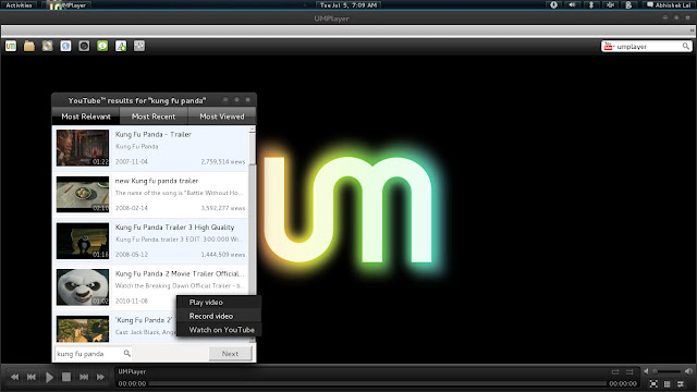 UM Player Ubuntu com Gnome-Shell
