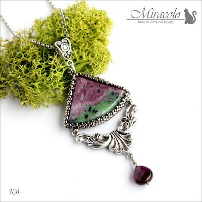 Miracolo, zoisyt, rubin, anyolit, granat , wisiorek z grantem, zoisite and ruby pendant, anyolite pendant
