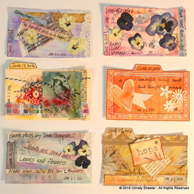 ICAD 2016, Cards 11 - 16.  Six index cards completed by Christy Sheeler.