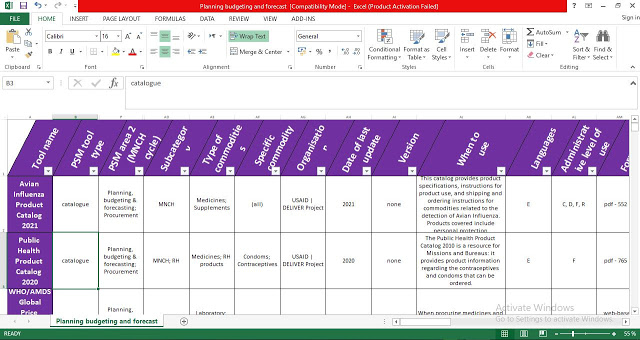 Planning, Budgeting and Forecast Procurement Template in Excel