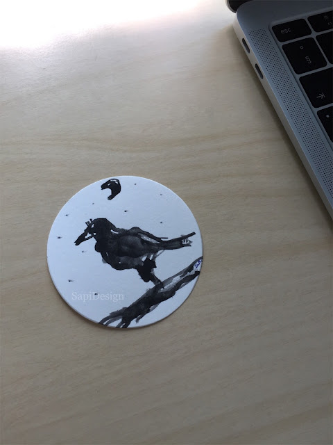 sketch watercolor skiss crow illustration cutting die SapiDesign