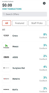 """An Android screenshot detailing different """"Gasback"""" shopping options, part of the GasBuddy mobile app"""