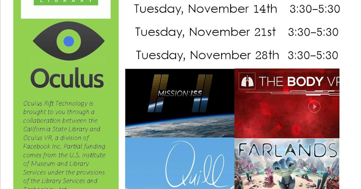 Tulare County Library News and Events: Virtual Reality, 11/14 + 11