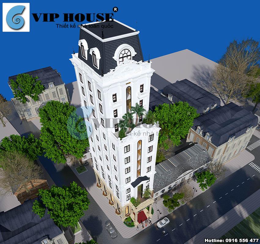 Hình ảnh: Phối cảnh từ trên cao xuống của thiết kế khách sạn mini 11 tầng Hương Lan Hotel