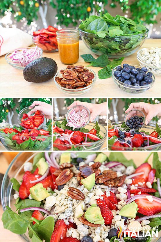 photo collage shows ingredients for a strawberry spinach salad recipe