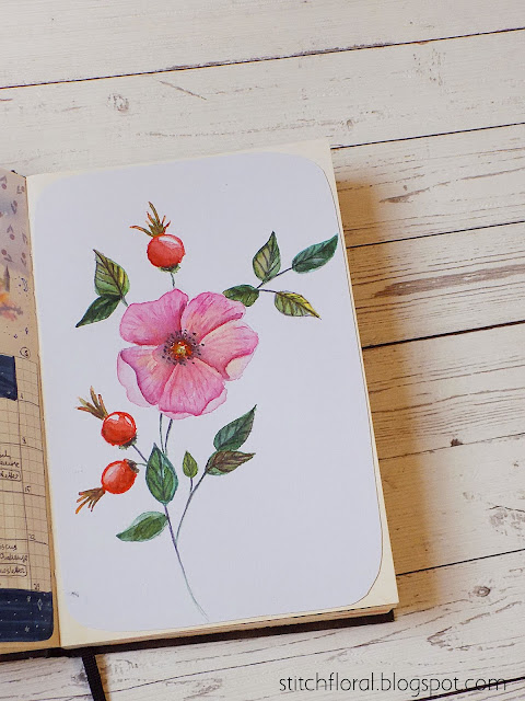wild rose watercolor