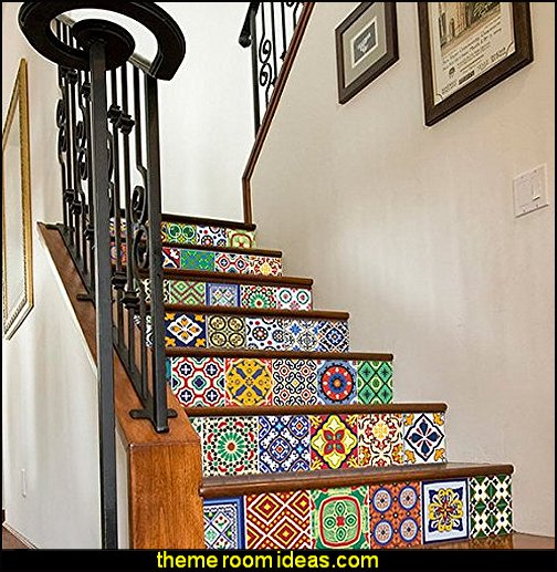 Vinyl Wall Home Decor Stickers for Staircase Mexican Talavera Patterns Stairs