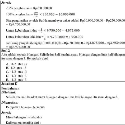 Soal dan Pembahasan Ujian PPPK Guru Matematika SD SMP SMA/SMK Tahun 2021