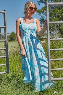 Turquoise floral cotton Midi sundress design
