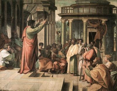 Πίνακας του Ραφαήλ ή Ραφαέλο Σάντσιο,  ο Απόστολος Παύλος κηρύττει στην Αθήνα (1515)