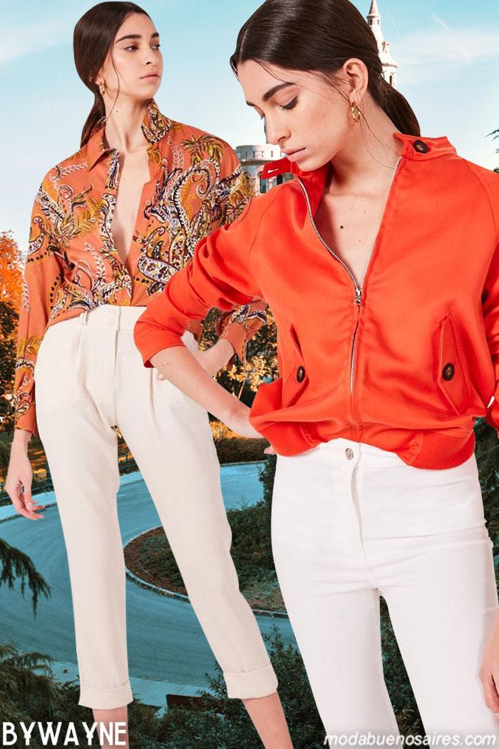 Blusas, camperas y pantalones de vestir blancos primavera verano 2020. Moda 2020 mujer primavera verano 2020.