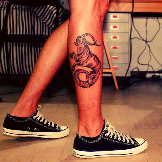 In voller Größe capricorn zodiac symbol tattoos auf Bein