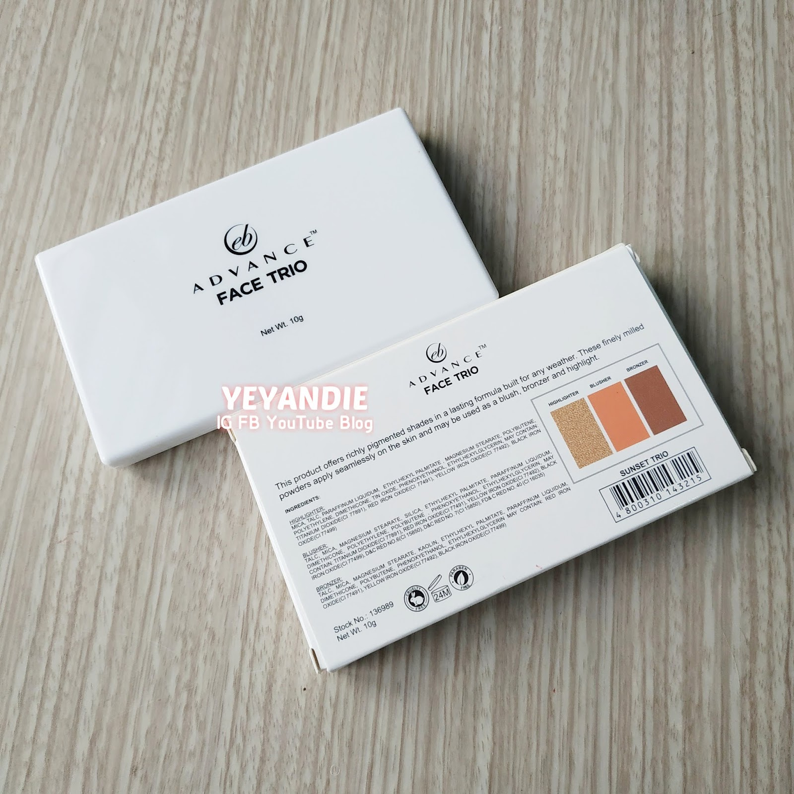 YeyAndie Blog: EB Advance Face Trio in Sunset Trio Review