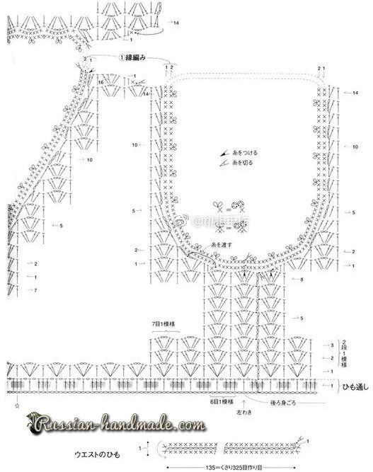 Схема вязания платья крючком ажурным узором (4)