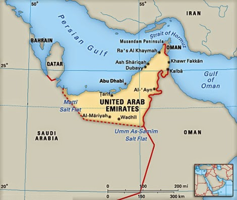 United Arab Emirates (UAE) map