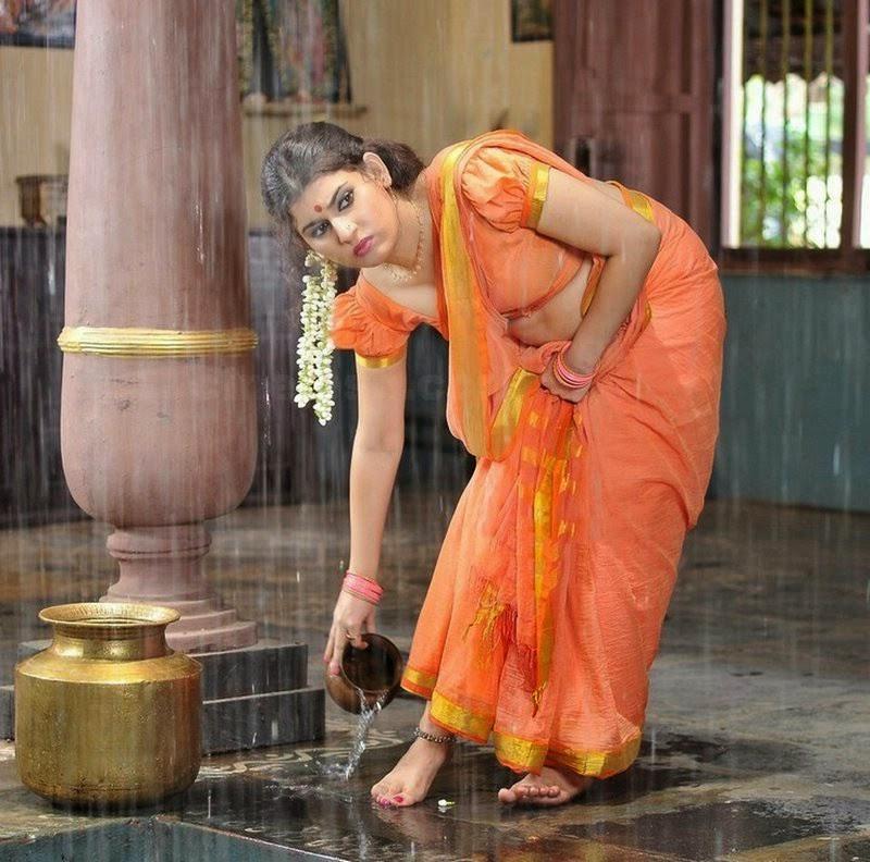 South Indian Bgrade Actress Navel Show Photos In Saree